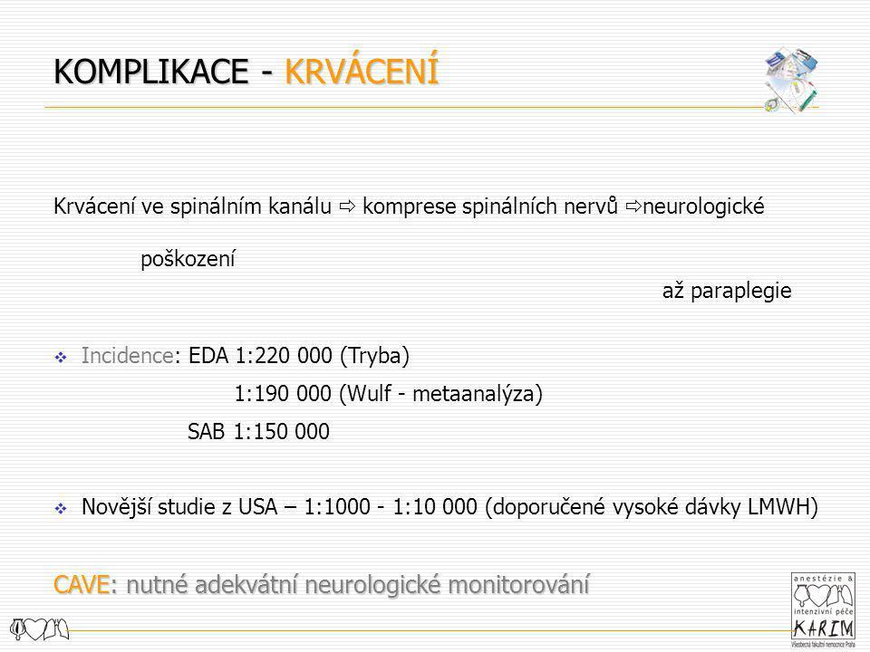 Krvácení ve spinálním kanálu  komprese spinálních nervů  neurologické poškození až paraplegie  Incidence: EDA 1:220 000 (Tryba) 1:190 000 (Wulf - m