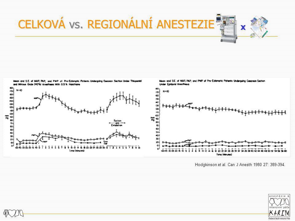 Hodgkinson et al. Can J Anesth 1980 27: 389-394. CELKOVÁ vs. REGIONÁLNÍ ANESTEZIE x