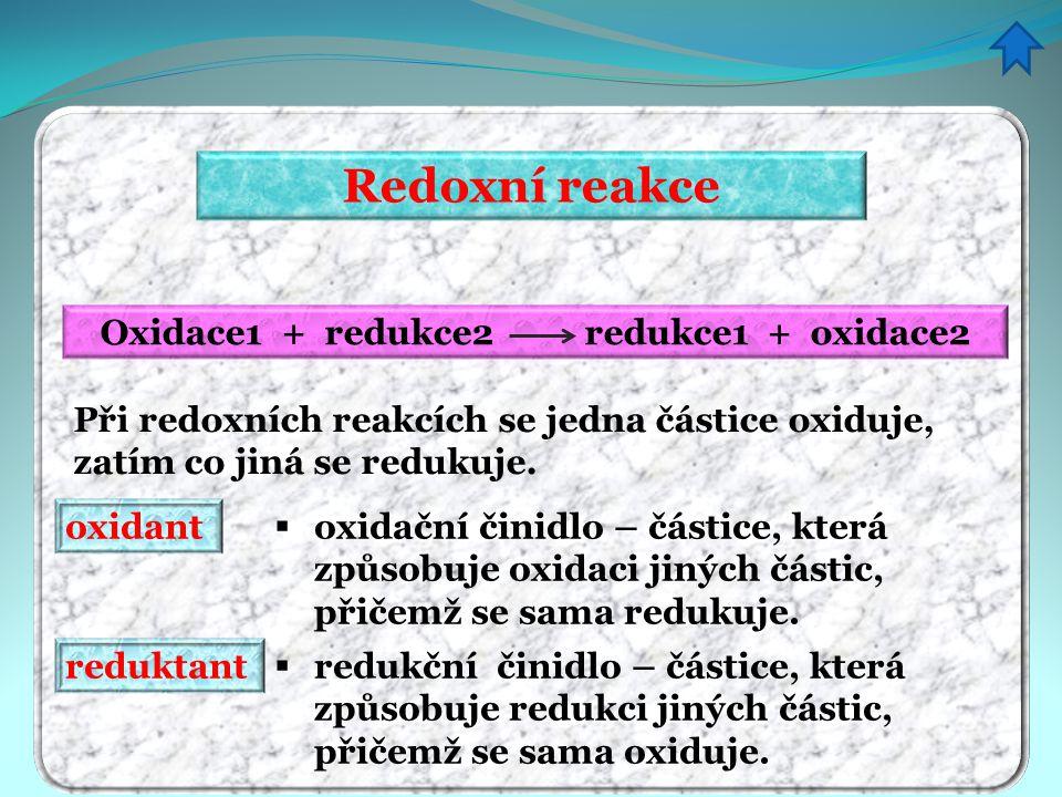 Redoxní reakce Oxidace1 + redukce2 redukce1 + oxidace2 Při redoxních reakcích se jedna částice oxiduje, zatím co jiná se redukuje. oxidant  oxidační