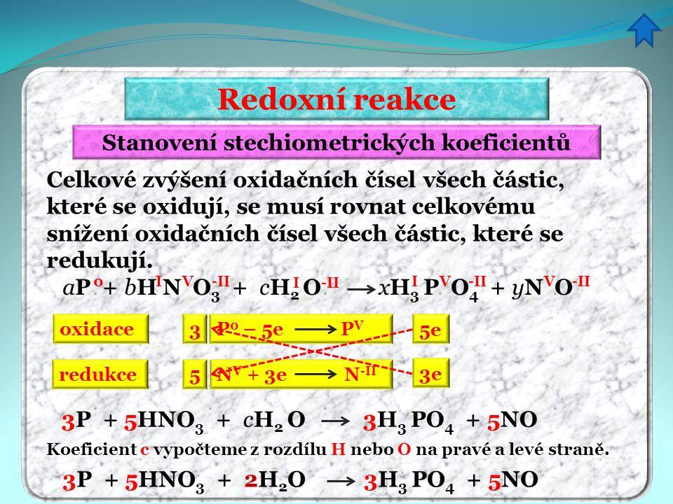 Redoxní reakce Stanovení stechiometrických koeficientů Celkové zvýšení oxidačních čísel všech částic, které se oxidují, se musí rovnat celkovému sníže