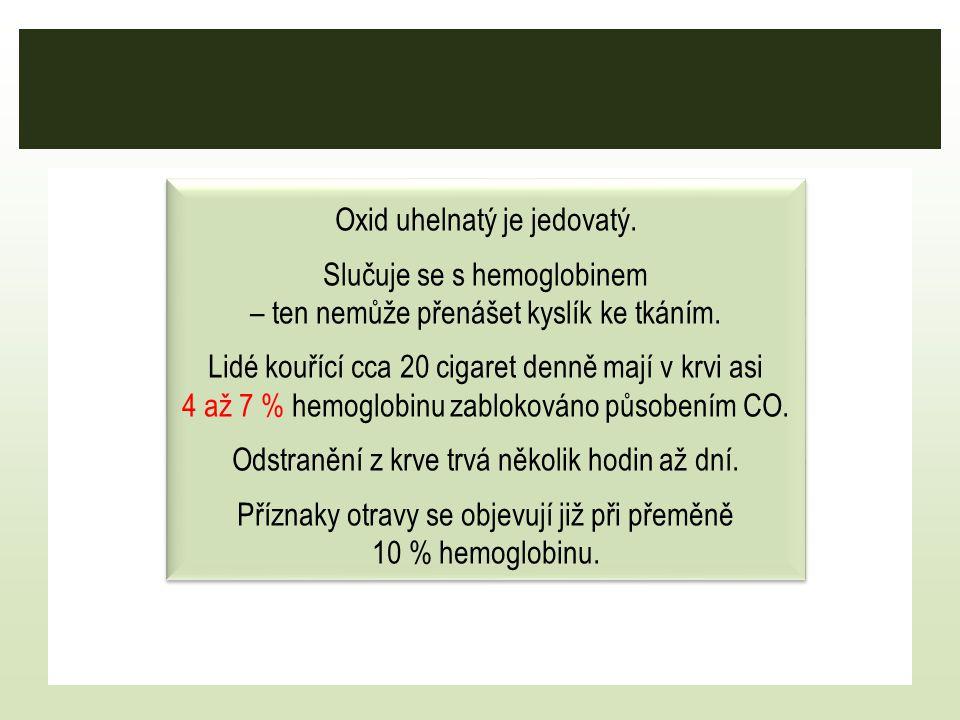 Oxid uhelnatý je jedovatý. Slučuje se s hemoglobinem – ten nemůže přenášet kyslík ke tkáním. Lidé kouřící cca 20 cigaret denně mají v krvi asi 4 až 7