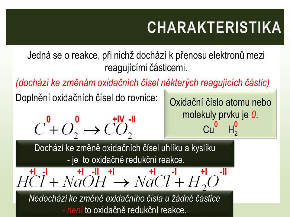 Jedná se o reakce, při nichž dochází k přenosu elektronů mezi reagujícími částicemi. (dochází ke změnám oxidačních čísel některých reagujících částic)
