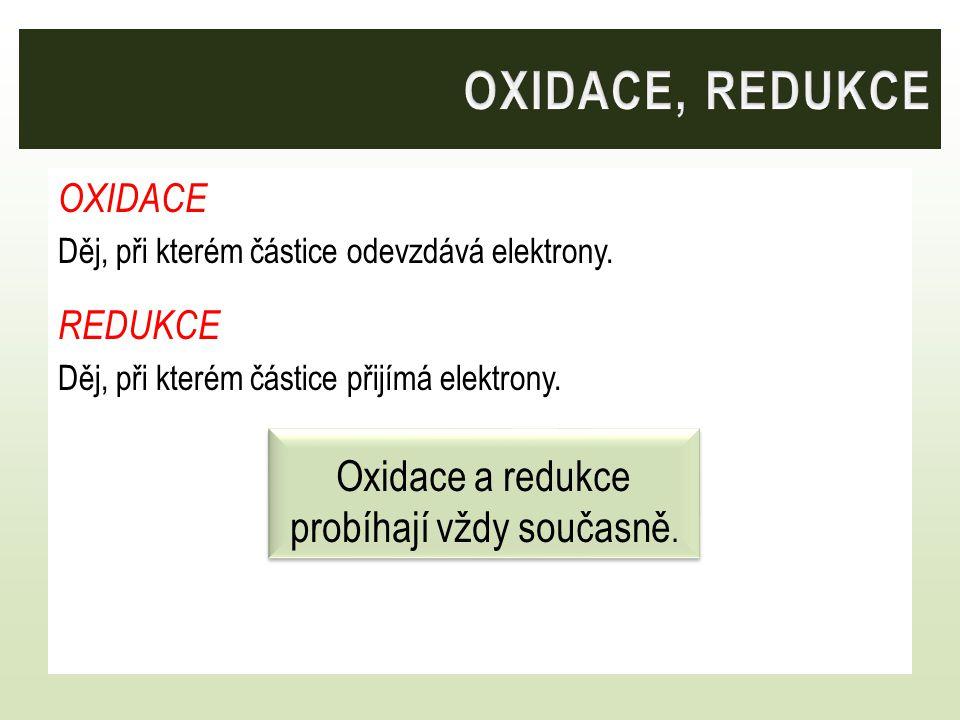 OXIDACE Děj, při kterém částice odevzdává elektrony. REDUKCE Děj, při kterém částice přijímá elektrony. Oxidace a redukce probíhají vždy současně.