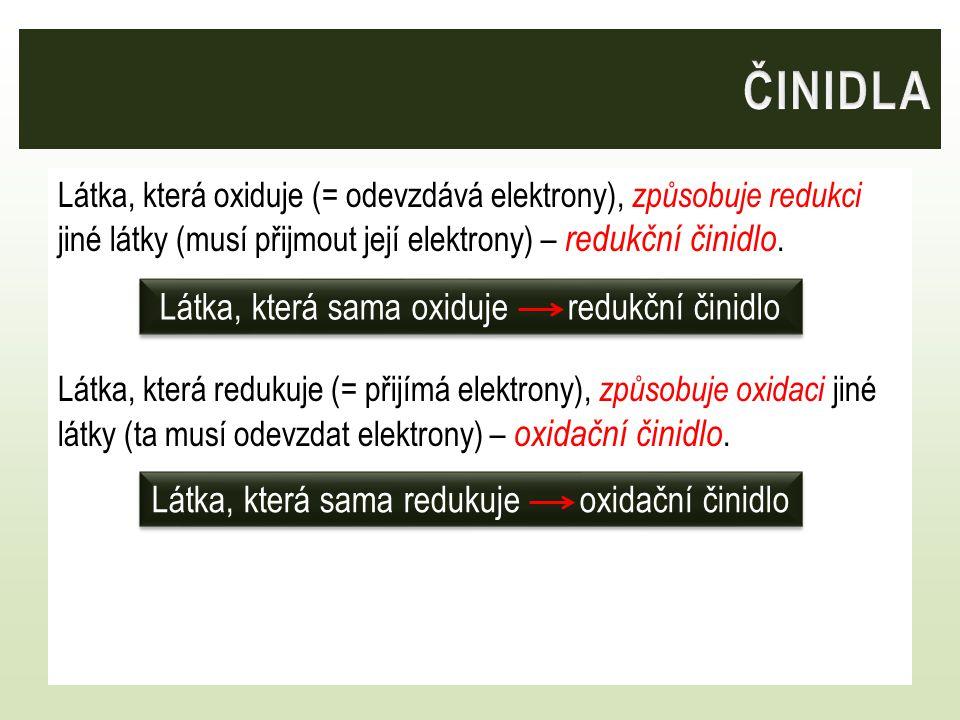 Látka, která oxiduje (= odevzdává elektrony), způsobuje redukci jiné látky (musí přijmout její elektrony) – redukční činidlo. Látka, která redukuje (=