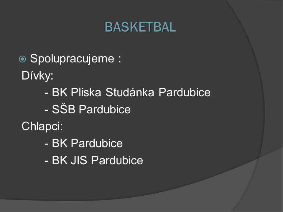BASKETBAL  Spolupracujeme : Dívky: - BK Pliska Studánka Pardubice - SŠB Pardubice Chlapci: - BK Pardubice - BK JIS Pardubice