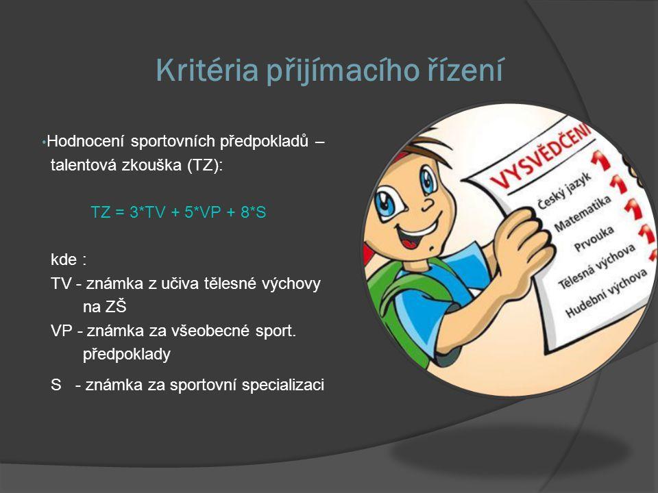 Kritéria přijímacího řízení Hodnocení sportovních předpokladů – talentová zkouška (TZ): TZ = 3*TV + 5*VP + 8*S kde : TV - známka z učiva tělesné výchovy na ZŠ VP - známka za všeobecné sport.