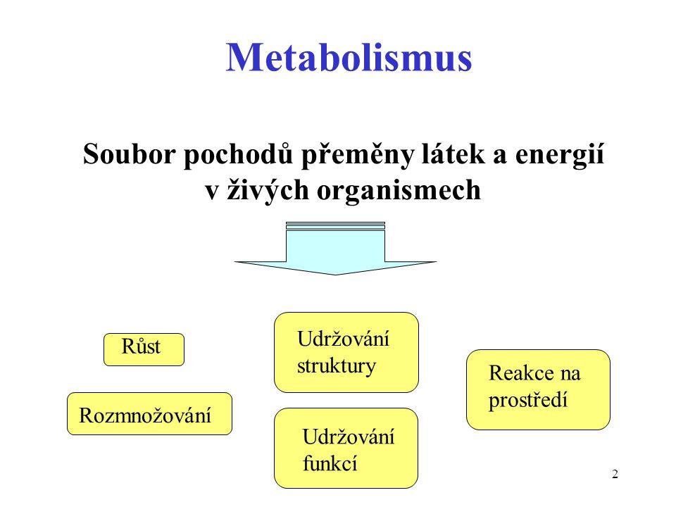 2 Metabolismus Soubor pochodů přeměny látek a energií v živých organismech Růst Rozmnožování Udržování struktury Reakce na prostředí Udržování funkcí
