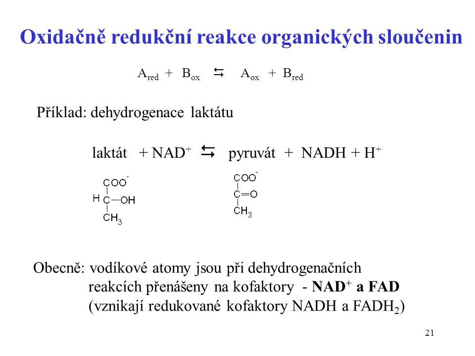 21 Oxidačně redukční reakce organických sloučenin A red + B ox  A ox + B red Příklad: dehydrogenace laktátu laktát + NAD +  pyruvát + NADH + H + H O