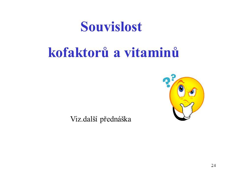 24 Souvislost kofaktorů a vitaminů Viz.další přednáška