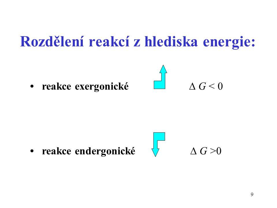 9 Rozdělení reakcí z hlediska energie: reakce exergonické  G < 0 reakce endergonické  G >0