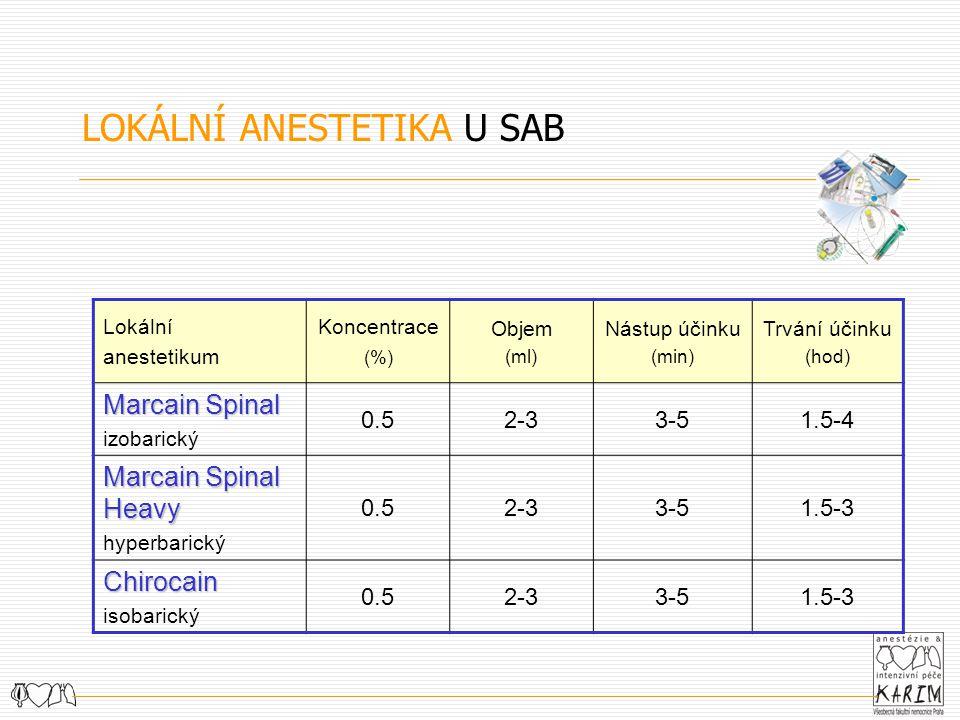 LOKÁLNÍ ANESTETIKA U SAB Lokální anestetikum Koncentrace (%) Objem (ml) Nástup účinku (min) Trvání účinku (hod) Marcain Spinal izobarický 0.52-33-51.5-4 Marcain Spinal Heavy hyperbarický 0.52-33-51.5-3 Chirocain isobarický 0.52-33-51.5-3