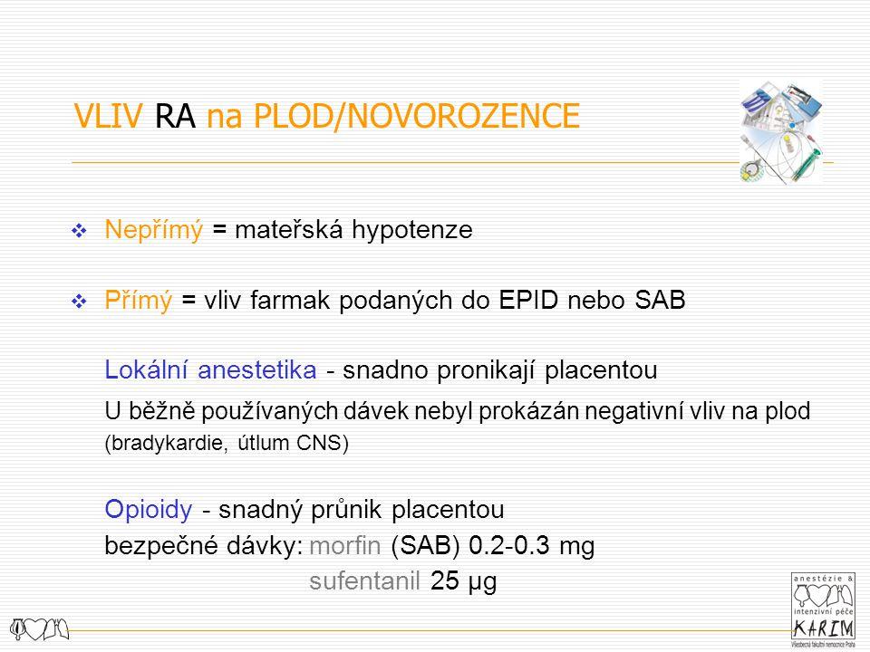 VLIV RA na PLOD/NOVOROZENCE  Nepřímý = mateřská hypotenze  Přímý = vliv farmak podaných do EPID nebo SAB Lokální anestetika - snadno pronikají placentou U běžně používaných dávek nebyl prokázán negativní vliv na plod (bradykardie, útlum CNS) Opioidy - snadný průnik placentou bezpečné dávky:morfin (SAB) 0.2-0.3 mg sufentanil 25 μg