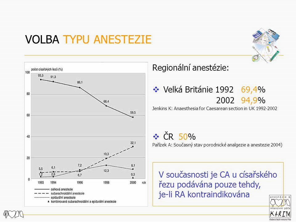 Regionální anestézie:  Velká Británie 1992 69,4% 2002 94,9% Jenkins K: Anaesthesia for Caesarean section in UK 1992-2002  ČR 50% Pařízek A: Současný stav porodnické analgezie a anestezie 2004) VOLBA TYPU ANESTEZIE V současnosti je CA u císařského řezu podávána pouze tehdy, je-li RA kontraindikována