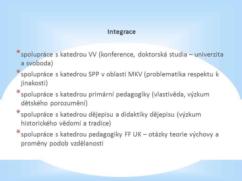 Integrace * spolupráce s katedrou VV (konference, doktorská studia – univerzita a svoboda) * spolupráce s katedrou SPP v oblasti MKV (problematika respektu k jinakosti) * spolupráce s katedrou primární pedagogiky (vlastivěda, výzkum dětského porozumění) * spolupráce s katedrou dějepisu a didaktiky dějepisu (výzkum historického vědomí a tradice) * spolupráce s katedrou pedagogiky FF UK – otázky teorie výchovy a proměny podob vzdělanosti