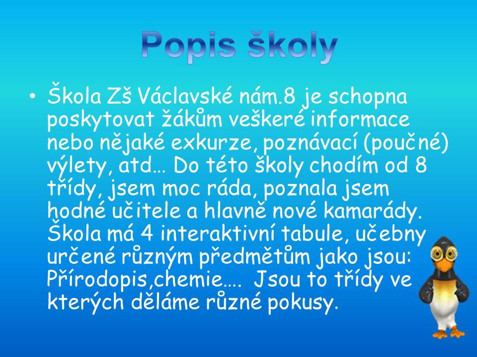 Škola Zš Václavské nám.8 je schopna poskytovat žákům veškeré informace nebo nějaké exkurze, poznávací (poučné) výlety, atd… Do této školy chodím od 8