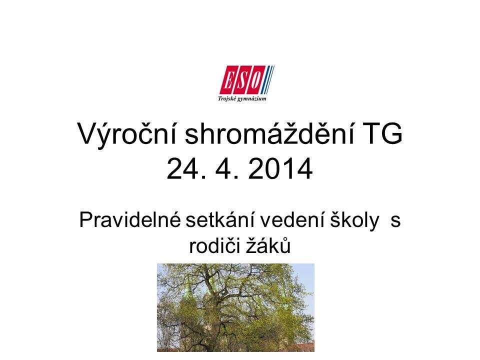 Výroční shromáždění TG 24. 4. 2014 Pravidelné setkání vedení školy s rodiči žáků