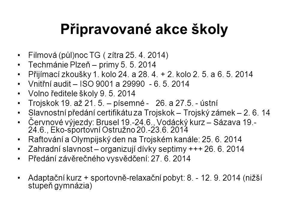 Připravované akce školy Filmová (půl)noc TG ( zítra 25. 4. 2014) Techmánie Plzeň – primy 5. 5. 2014 Přijímací zkoušky 1. kolo 24. a 28. 4. + 2. kolo 2