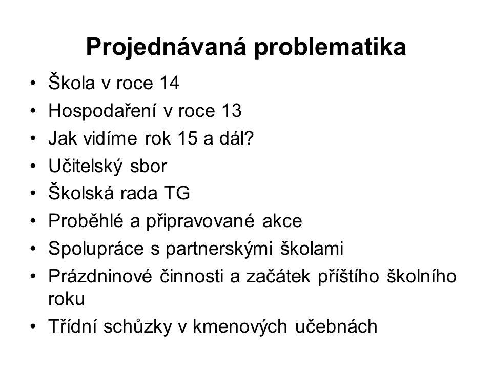 Projednávaná problematika Škola v roce 14 Hospodaření v roce 13 Jak vidíme rok 15 a dál.