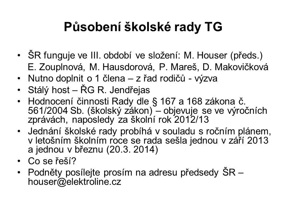 Působení školské rady TG ŠR funguje ve III. období ve složení: M. Houser (předs.) E. Zouplnová, M. Hausdorová, P. Mareš, D. Makovičková Nutno doplnit