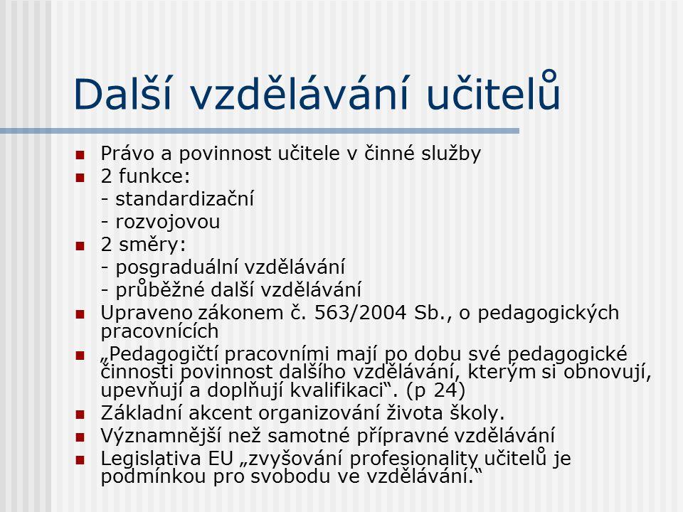 Další vzdělávání učitelů Právo a povinnost učitele v činné služby 2 funkce: - standardizační - rozvojovou 2 směry: - posgraduální vzdělávání - průběžn