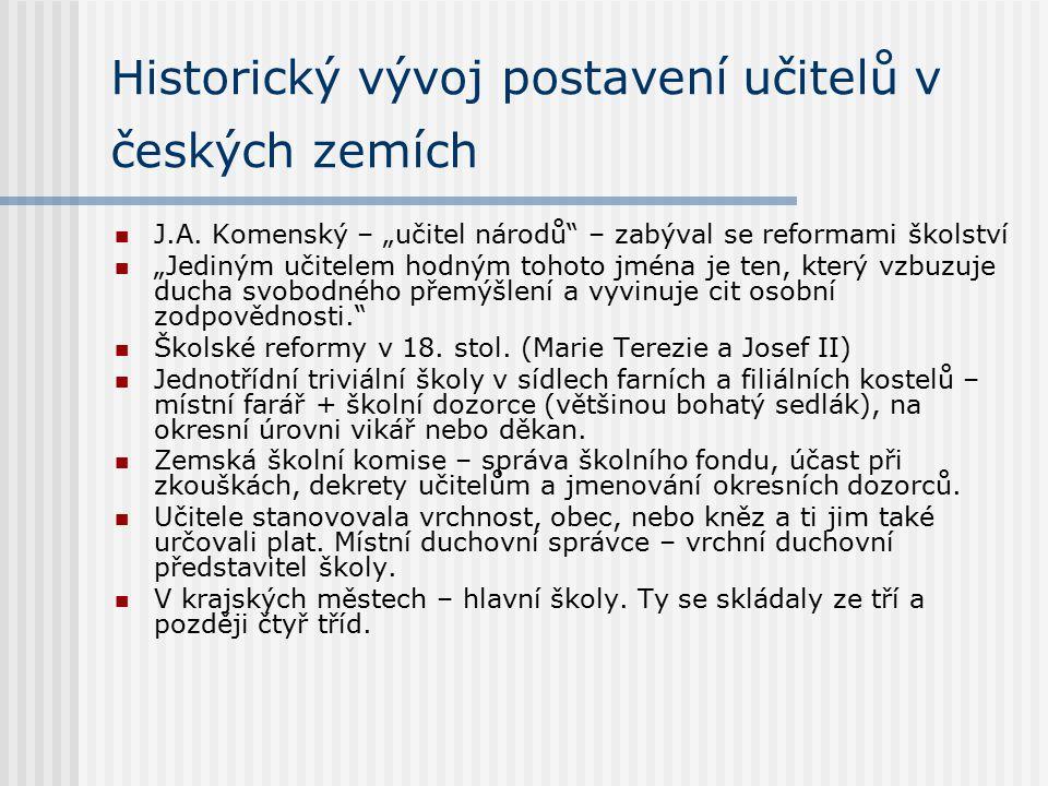 """Historický vývoj postavení učitelů v českých zemích J.A. Komenský – """"učitel národů"""" – zabýval se reformami školství """"Jediným učitelem hodným tohoto jm"""