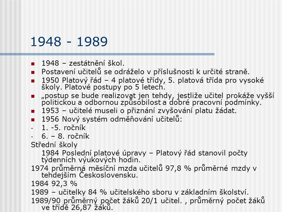 1948 - 1989 1948 – zestátnění škol. Postavení učitelů se odráželo v příslušnosti k určité straně. 1950 Platový řád – 4 platové třídy, 5. platová třída