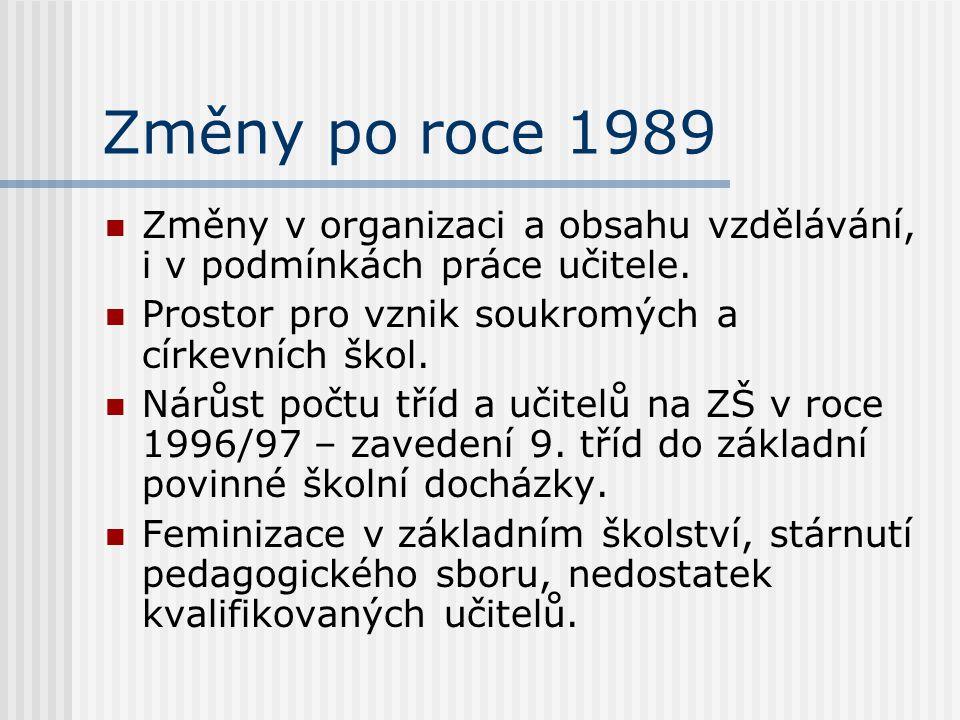 Změny po roce 1989 Změny v organizaci a obsahu vzdělávání, i v podmínkách práce učitele. Prostor pro vznik soukromých a církevních škol. Nárůst počtu