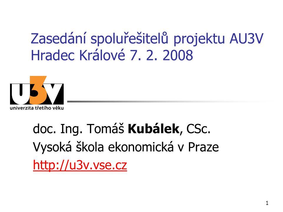 1 Zasedání spoluřešitelů projektu AU3V Hradec Králové 7. 2. 2008 doc. Ing. Tomáš Kubálek, CSc. Vysoká škola ekonomická v Praze http://u3v.vse.cz
