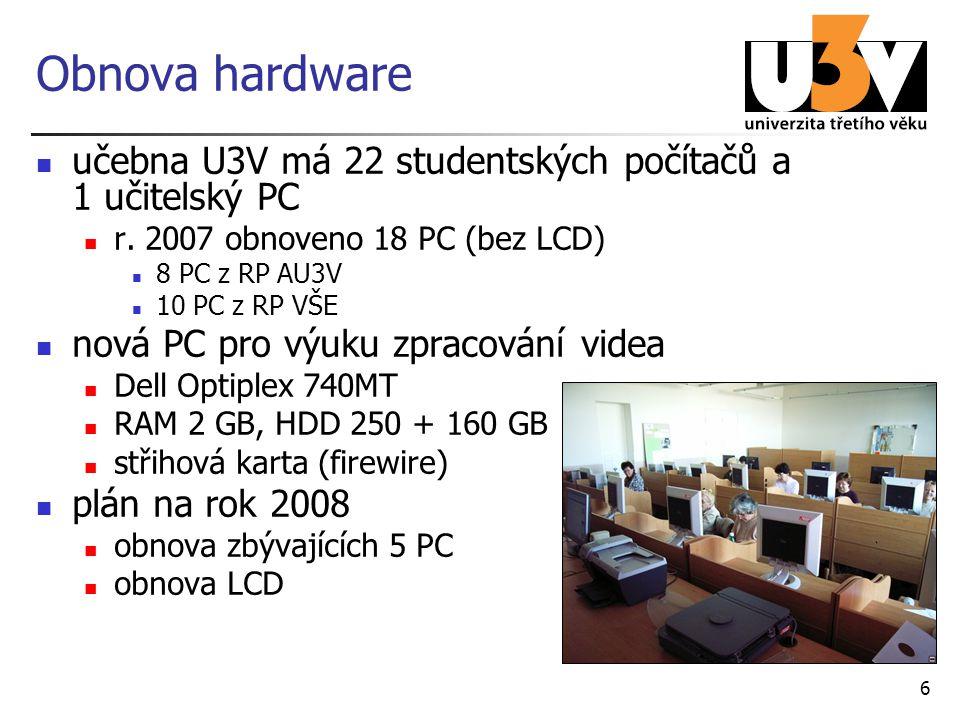 6 Obnova hardware učebna U3V má 22 studentských počítačů a 1 učitelský PC r. 2007 obnoveno 18 PC (bez LCD) 8 PC z RP AU3V 10 PC z RP VŠE nová PC pro v