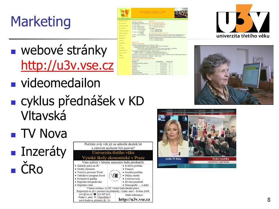 8 Marketing webové stránky http://u3v.vse.cz http://u3v.vse.cz videomedailon cyklus přednášek v KD Vltavská TV Nova Inzeráty ČRo