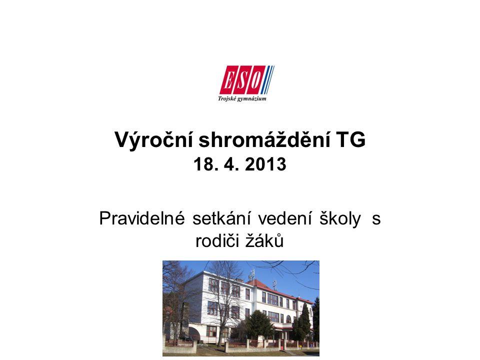 Výroční shromáždění TG 18. 4. 2013 Pravidelné setkání vedení školy s rodiči žáků