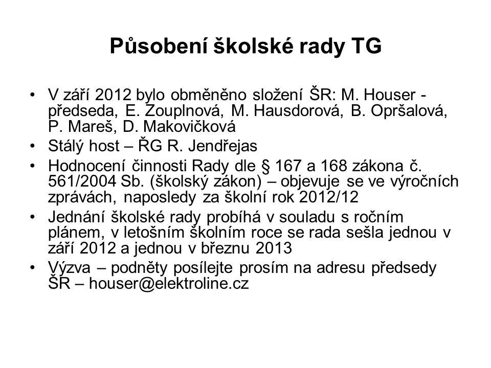 Působení školské rady TG V září 2012 bylo obměněno složení ŠR: M. Houser - předseda, E. Zouplnová, M. Hausdorová, B. Opršalová, P. Mareš, D. Makovičko