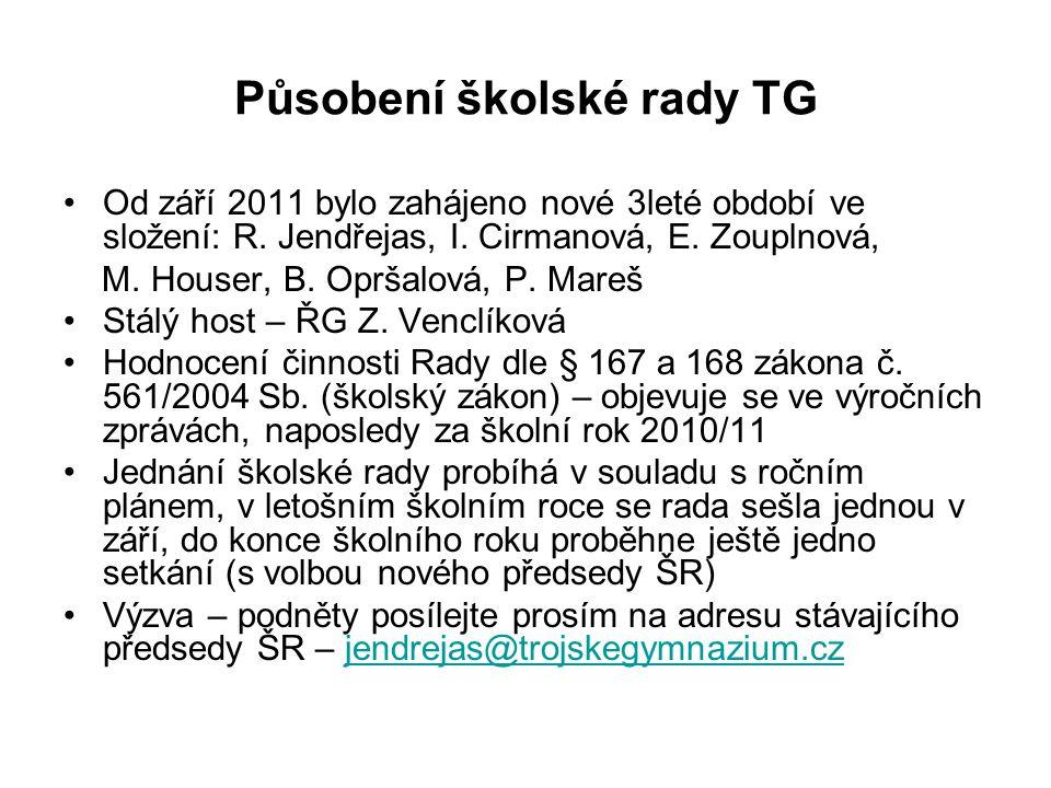 Působení školské rady TG Od září 2011 bylo zahájeno nové 3leté období ve složení: R.