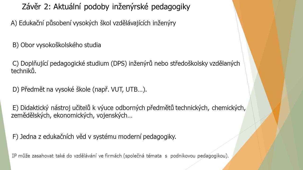 Závěr 2: Aktuální podoby inženýrské pedagogiky A) Edukační působení vysokých škol vzdělávajících inženýry B) Obor vysokoškolského studia C) Doplňující