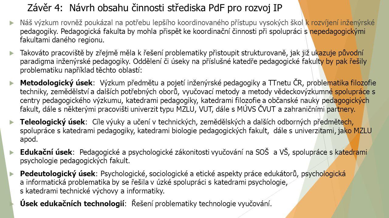 Závěr 4: Návrh obsahu činnosti střediska PdF pro rozvoj IP  Náš výzkum rovněž poukázal na potřebu lepšího koordinovaného přístupu vysokých škol k roz