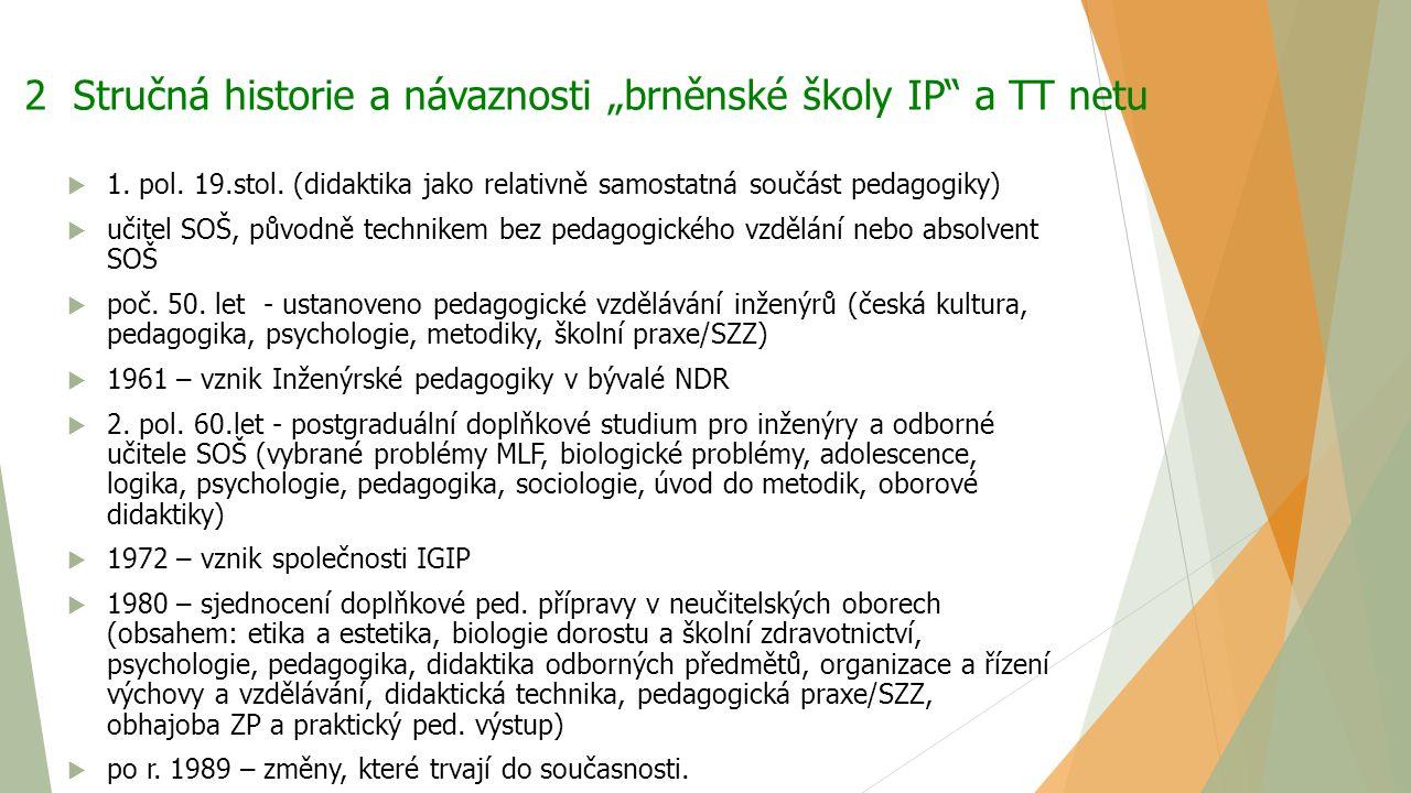 """2 Stručná historie a návaznosti """"brněnské školy IP"""" a TT netu  1. pol. 19.stol. (didaktika jako relativně samostatná součást pedagogiky)  učitel SOŠ"""