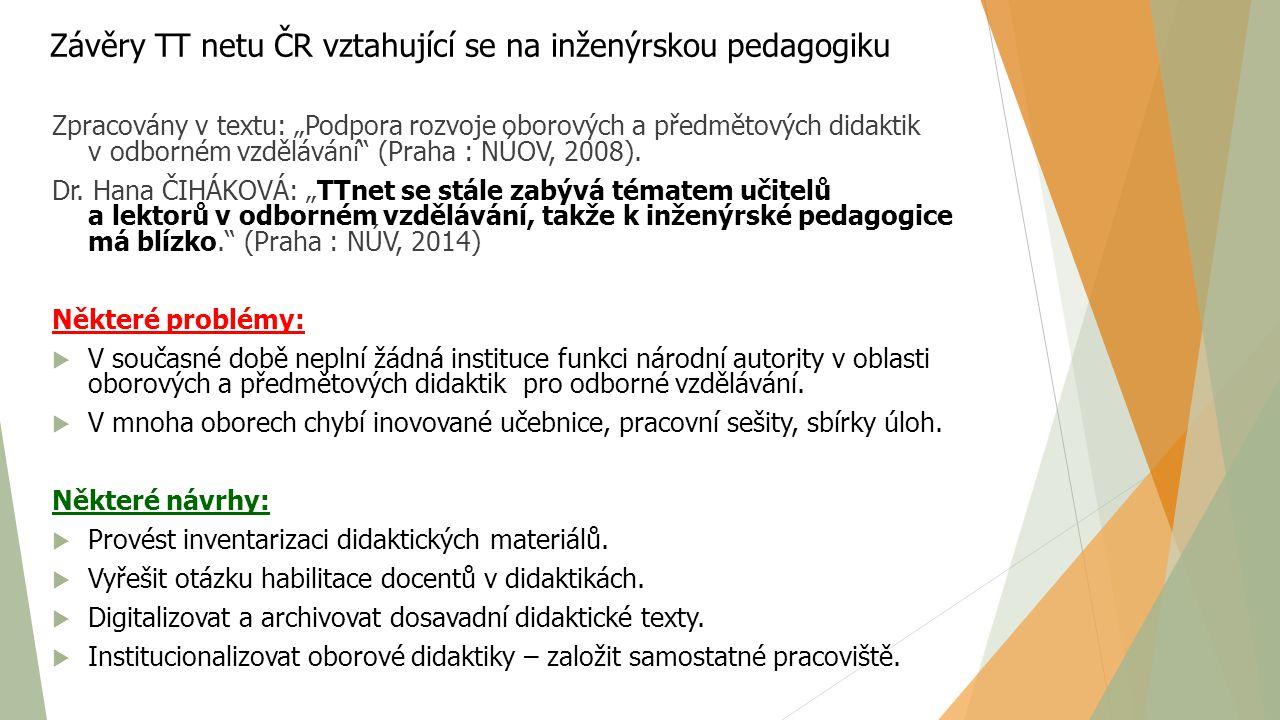 Inženýrská pedagogika ve vzdělávání SŠ A VŠ učitelů  Předmět Inženýrská pedagogika  Programy CŽV  Akreditované programy - Bc.