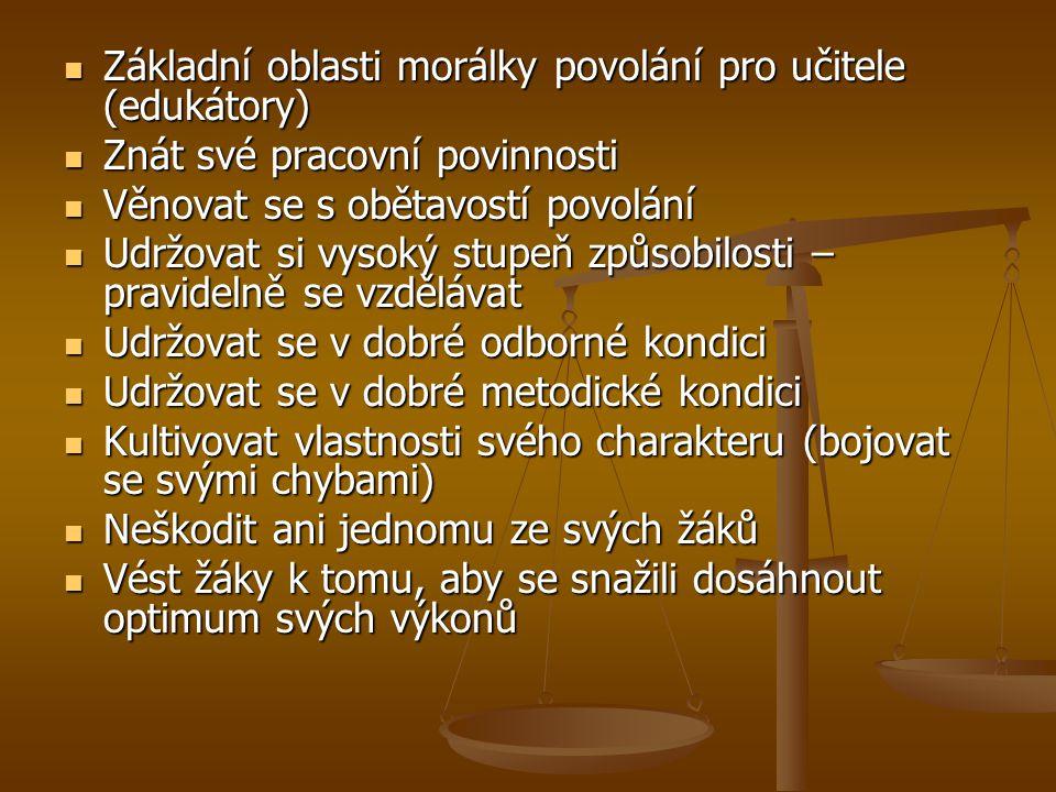 Základní oblasti morálky povolání pro učitele (edukátory) Základní oblasti morálky povolání pro učitele (edukátory) Znát své pracovní povinnosti Znát