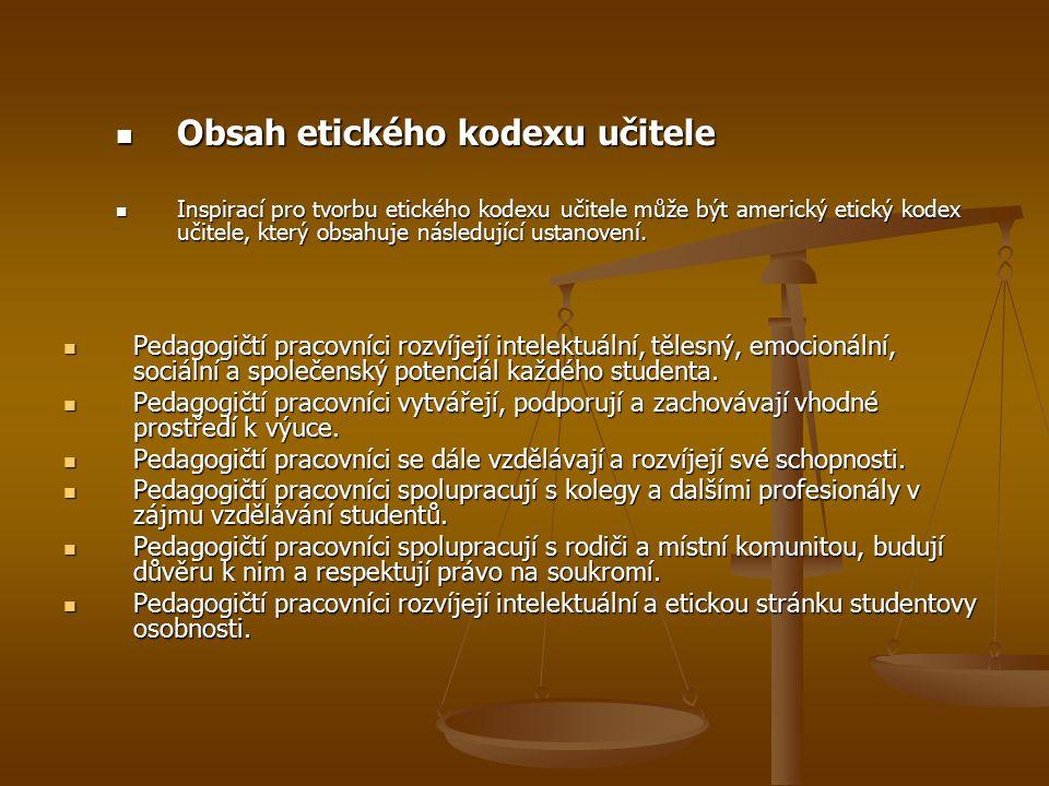 Obsah etického kodexu učitele Obsah etického kodexu učitele Inspirací pro tvorbu etického kodexu učitele může být americký etický kodex učitele, který