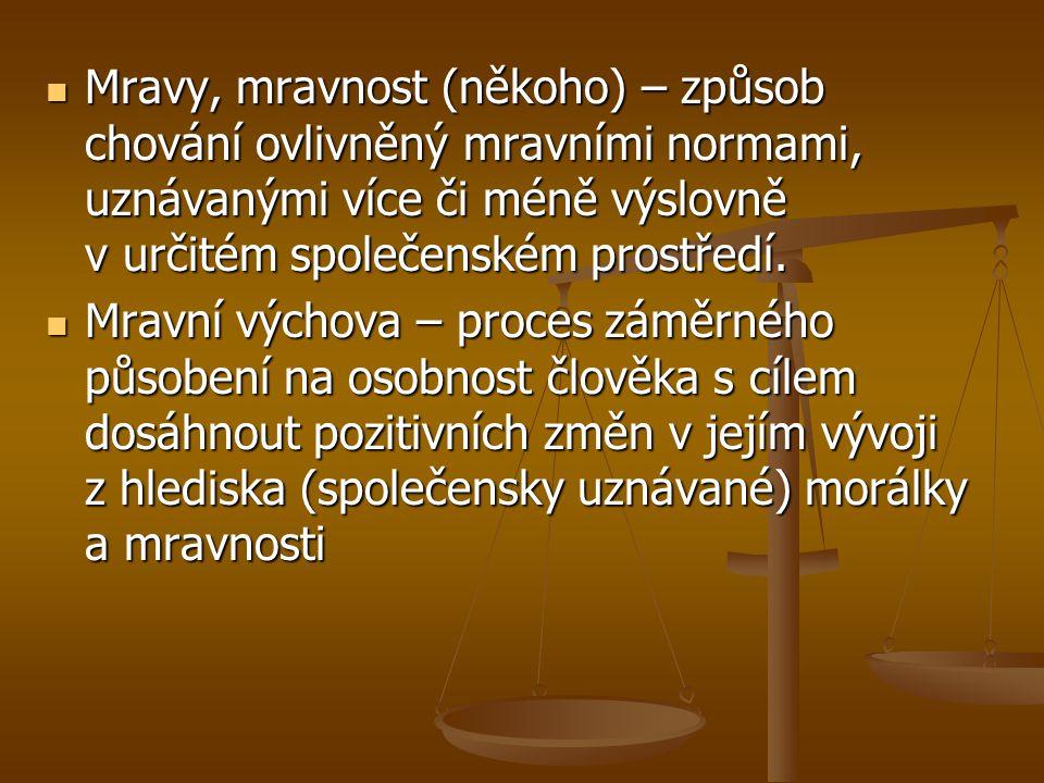 Mravy, mravnost (někoho) – způsob chování ovlivněný mravními normami, uznávanými více či méně výslovně v určitém společenském prostředí. Mravy, mravno