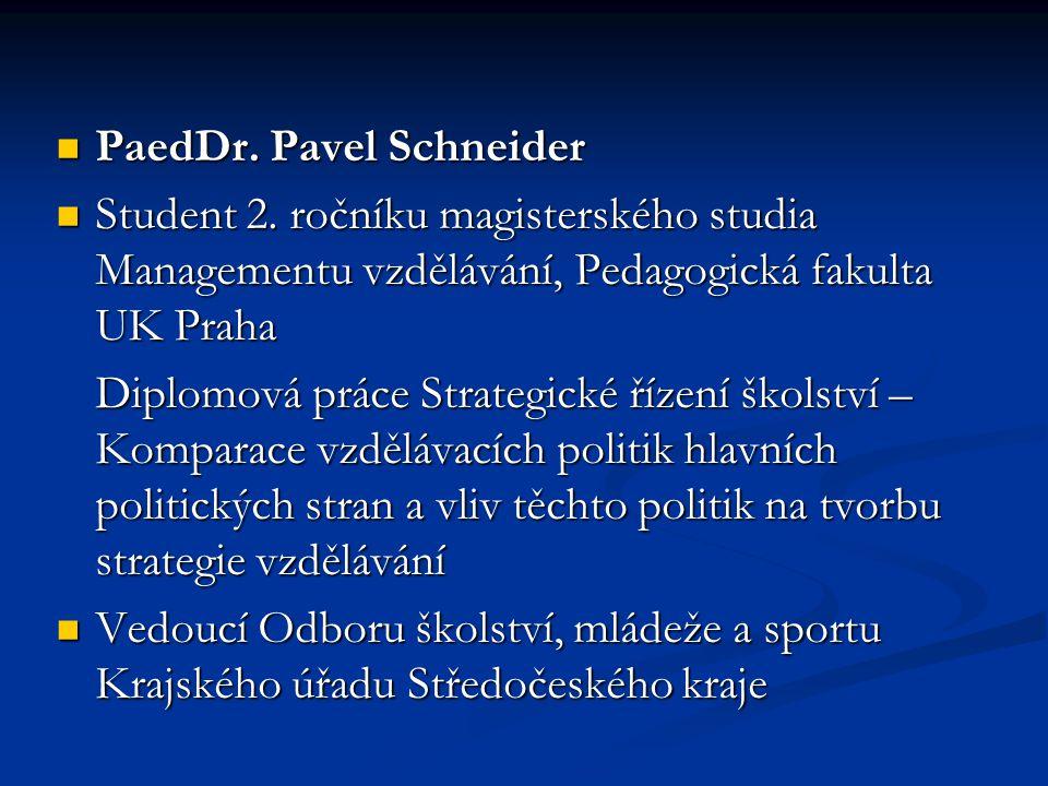 PaedDr. Pavel Schneider PaedDr. Pavel Schneider Student 2. ročníku magisterského studia Managementu vzdělávání, Pedagogická fakulta UK Praha Student 2