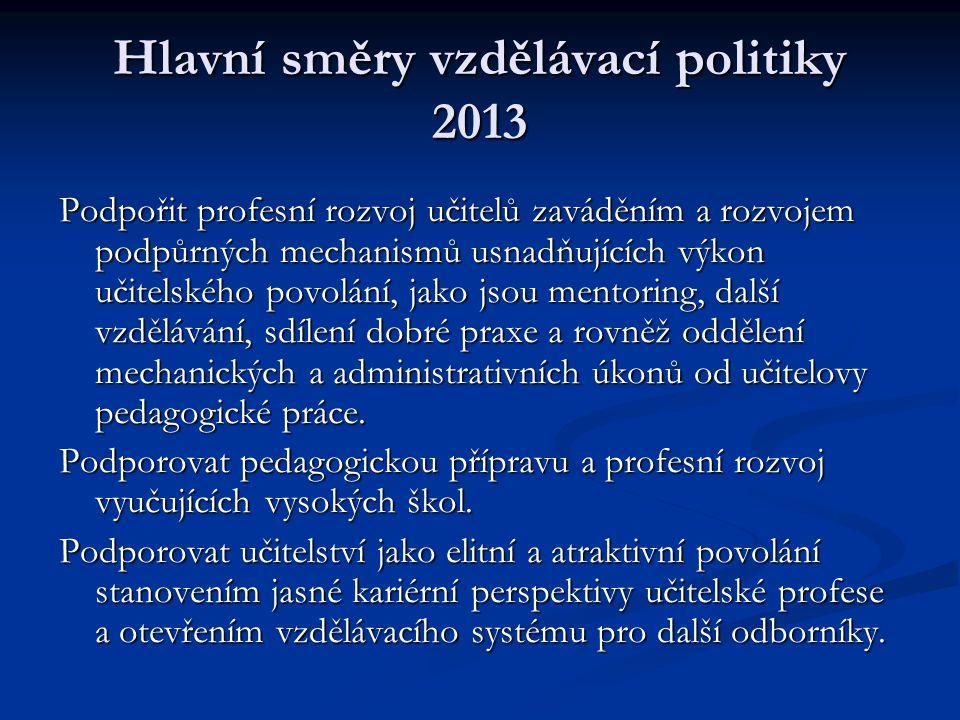 Hlavní směry vzdělávací politiky 2013 Podpořit profesní rozvoj učitelů zaváděním a rozvojem podpůrných mechanismů usnadňujících výkon učitelského povo