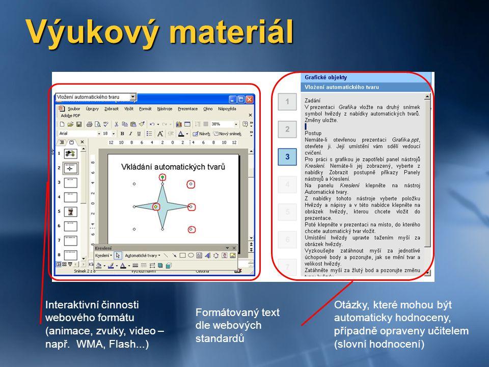 Výukový materiál Otázky, které mohou být automaticky hodnoceny, případně opraveny učitelem (slovní hodnocení) Formátovaný text dle webových standardů Interaktivní činnosti webového formátu (animace, zvuky, video – např.