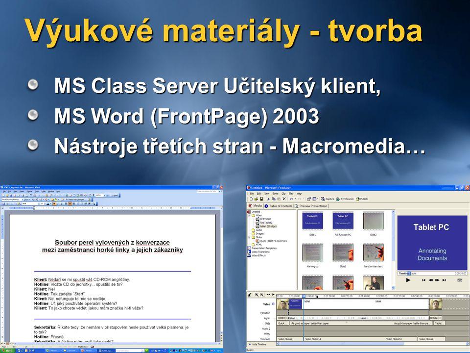 Výukové materiály - tvorba MS Class Server Učitelský klient, MS Word (FrontPage) 2003 Nástroje třetích stran - Macromedia…