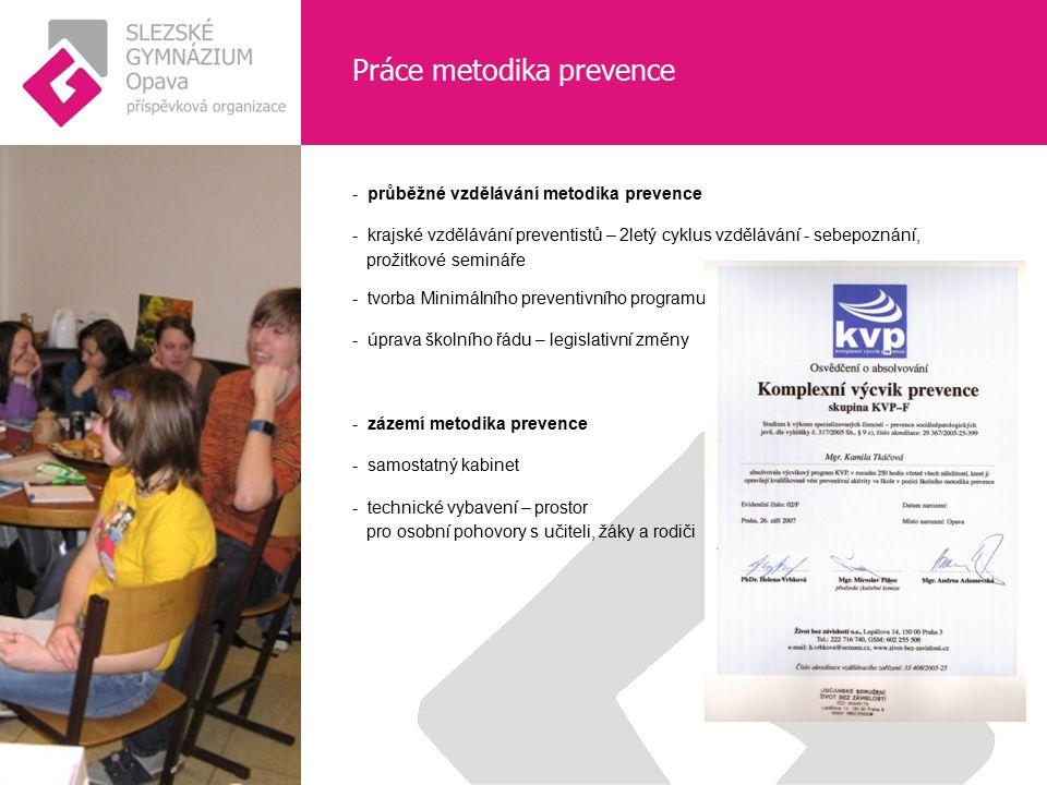 Práce metodika prevence - průběžné vzdělávání metodika prevence - krajské vzdělávání preventistů – 2letý cyklus vzdělávání - sebepoznání, prožitkové s