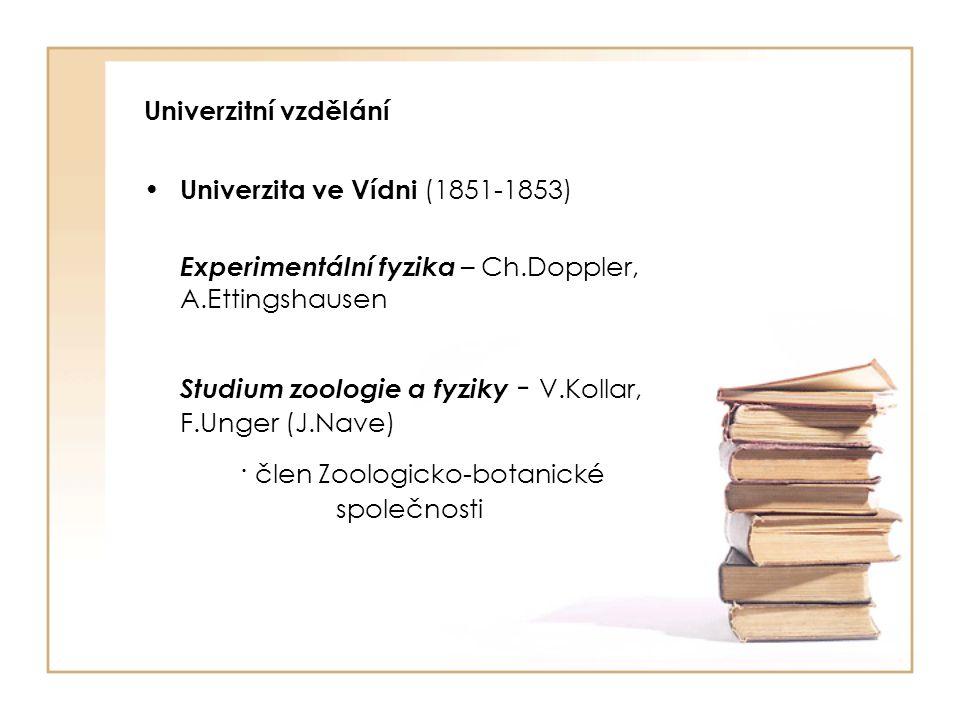 Učitel fyziky a přírodopisu Učitel fyziky a přírodopisu na Reálce v Brně (1854-1868) J.Auspitz, A.Zawadski, A.Makowsky, · člen přírodovědné sekce Hospodářské společnosti