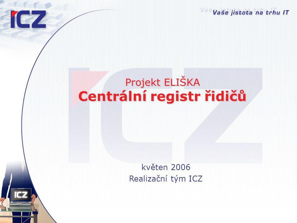 Projekt ELIŠKA Centrální registr řidičů květen 2006 Realizační tým ICZ