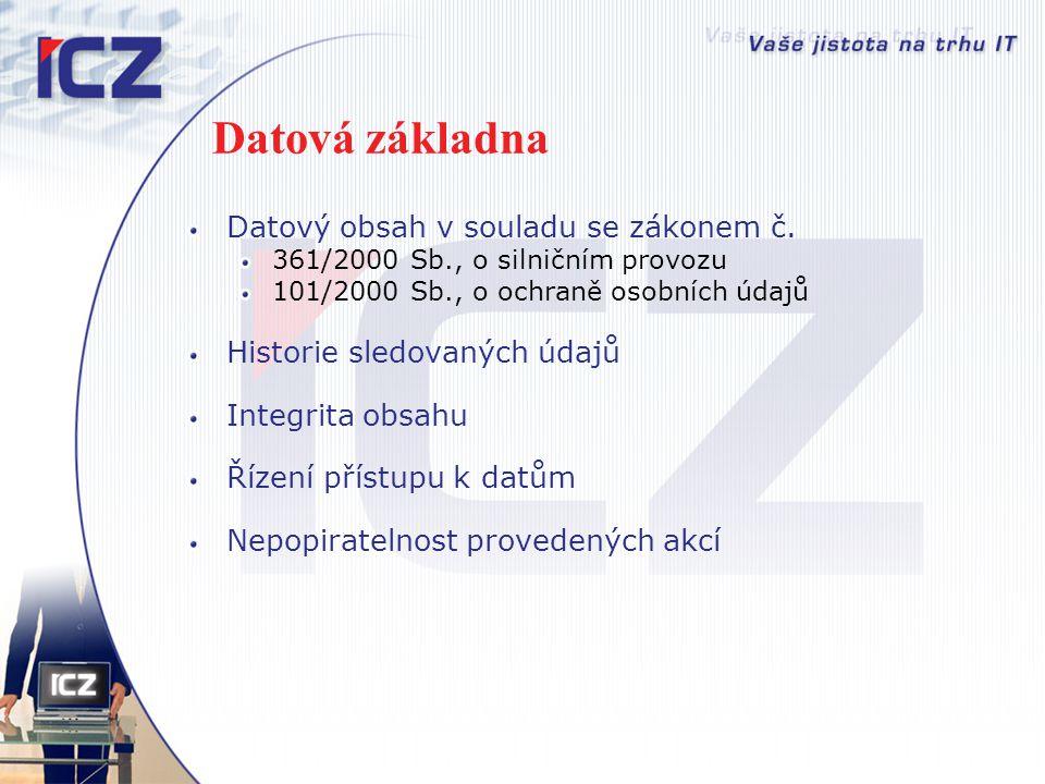 Datová základna Datový obsah v souladu se zákonem č. 361/2000 Sb., o silničním provozu 101/2000 Sb., o ochraně osobních údajů Historie sledovaných úda