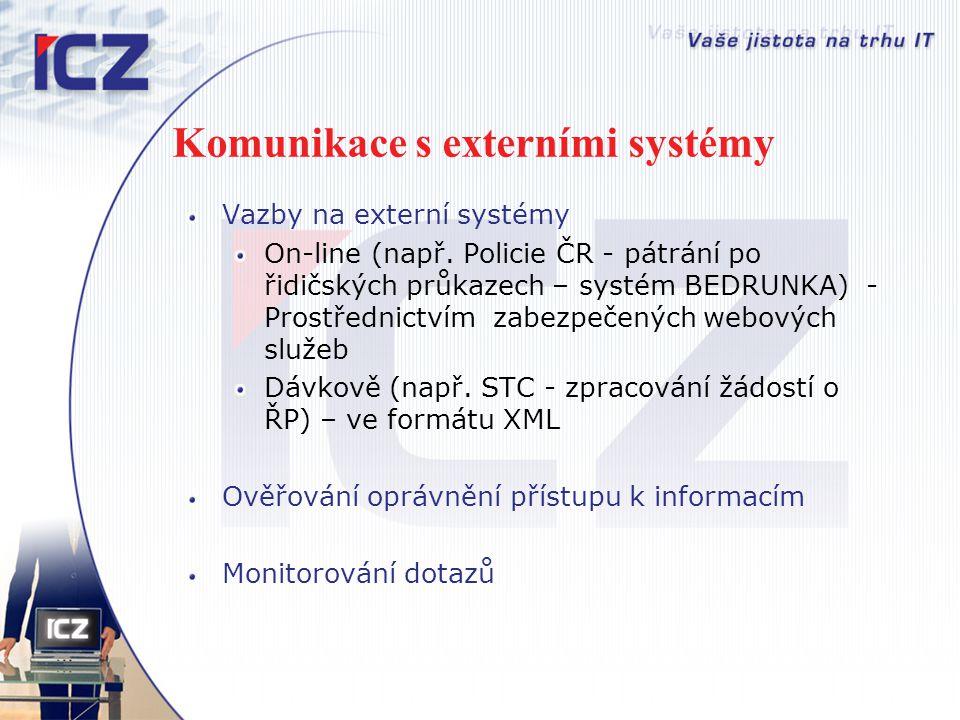 Komunikace s externími systémy Vazby na externí systémy On-line (např. Policie ČR - pátrání po řidičských průkazech – systém BEDRUNKA) - Prostřednictv