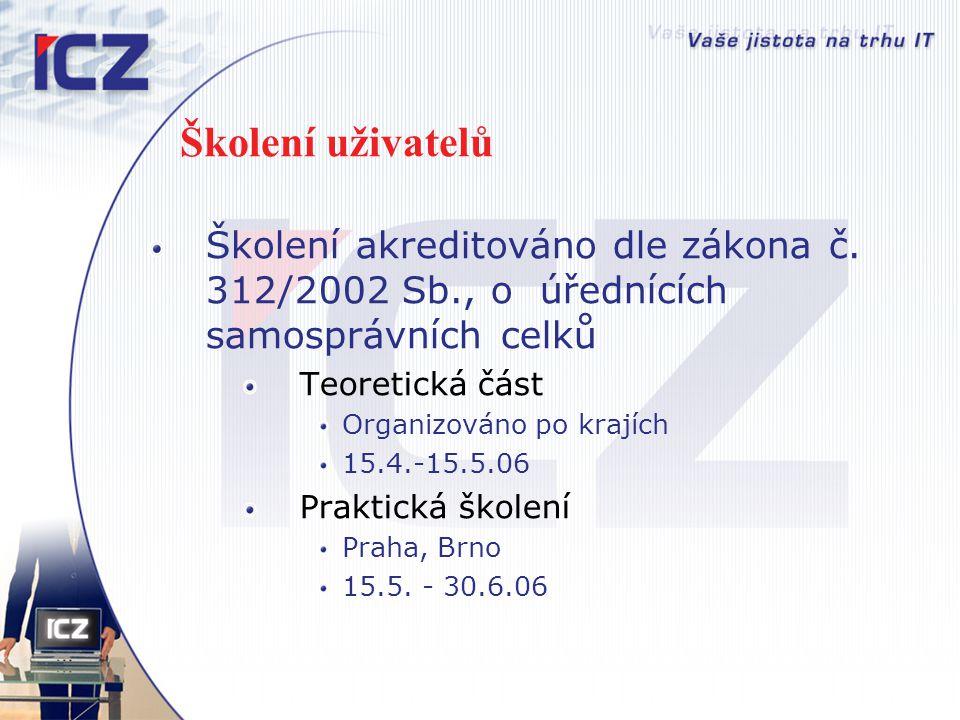 Školení uživatelů Školení akreditováno dle zákona č. 312/2002 Sb., o úřednících samosprávních celků Teoretická část Organizováno po krajích 15.4.-15.5